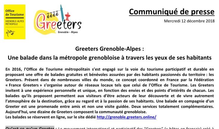 Communiqué de presse des Greeters de Grenoble