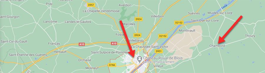 Carte Blois Chambord