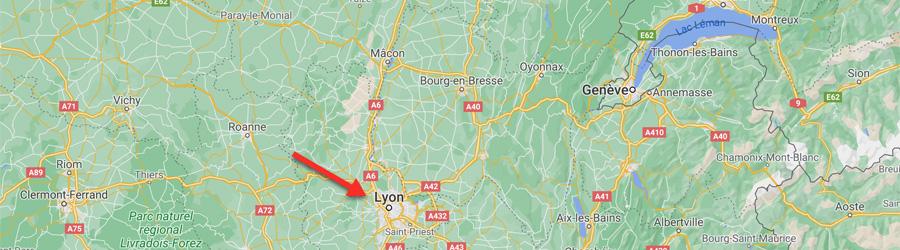 Carte des environs de Lyon